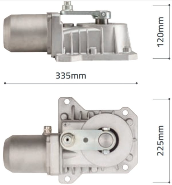 Liftmaster Chamberlain SUB 300 replacement motor with Dimensions